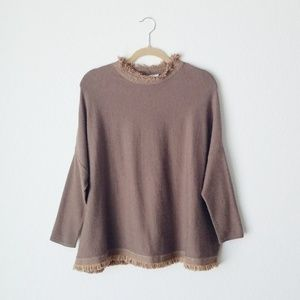 THML Brown Dolman Oversized Fringe Sweater - Small